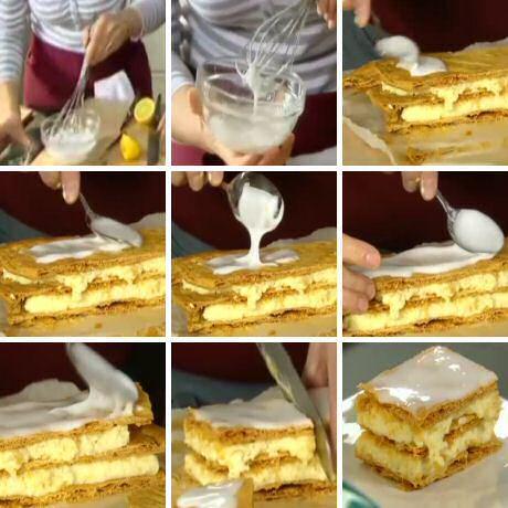 Tompoes: Glazuur maken met poedersuiker, een beetje water en een beetje citroensap, uitgesmeerd op een lekker bladerdeeg tompoes gebakje