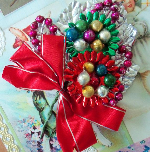 Vintage / Christmas Corsage / Mercury Glass by chocolateletters, $8.95