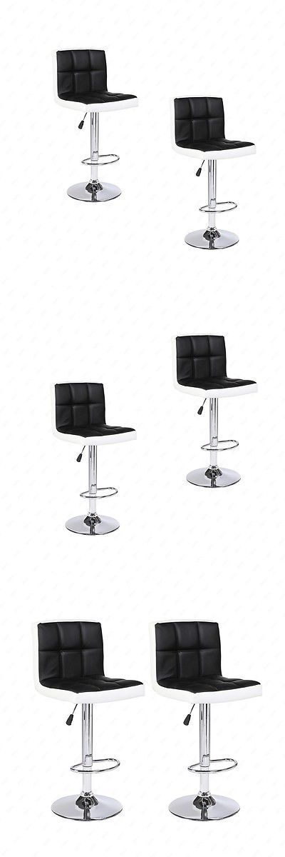Bar Stools 153928: Bn Set Of 2 Bar Stools Leather Adjustable Swivel Pub Chair In Black And White -> BUY IT NOW ONLY: $59.9 on eBay!