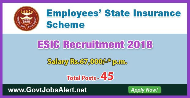 ESIC Recruitment 2018 - Hiring 61 Professor Posts, Salary Rs.67,000/- : Apply Now !!!  The Employees State Insurance Corporation – ESIC Recruitment 2018 has released an official employment notification inviting interested and eligible candidates to apply for the positions of Professor, Associate Professor and Assistant Professor in Kolkata and Hyderabad. The eligible candidates may apply online through the official website (given below).   #2018 #Anesthesia #AssistantPr