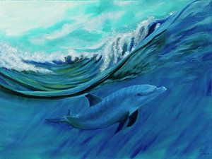 Marine Life Painting - Wave Dance by Joel Cafiero