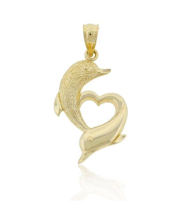 10k Yellow Gold Textured Dolphin Charm Pendant