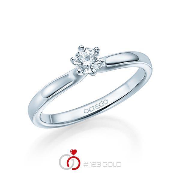 Verlobungsring Diamantring 6 Krappen, Zungschiene, Breite: 2,20, Höhe: 1,30- Legierung: Weißgold 585/- - Steinbesatz: 1 Brillant 0,25 ct. tw, si