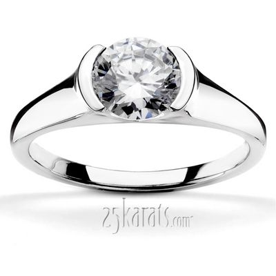 No prongs!!!  Half Bezel Contemporary Solitaire Engagement Ring