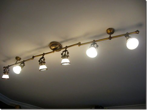 Pretty Track Lights Antique Brass Finish With