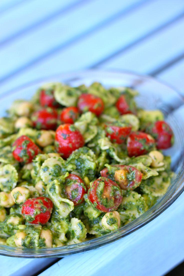 Spinach Cilantro Pasta Salad with Chickpeas