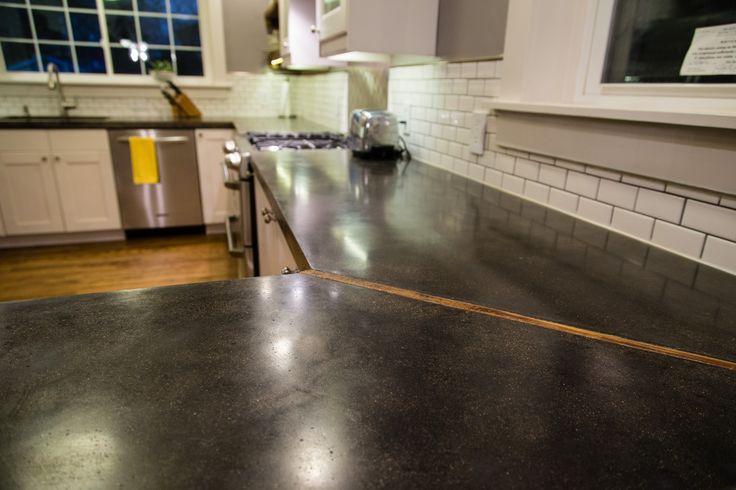 Kitchen renovation. DIY concrete counters. Subway tile backsplash.