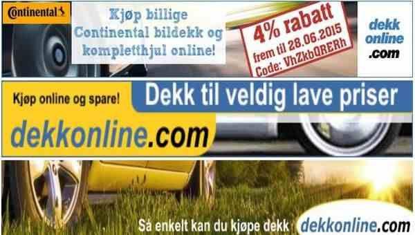 Dekk rabattkode for Norge. 4% rabatt på Continental-bildekk