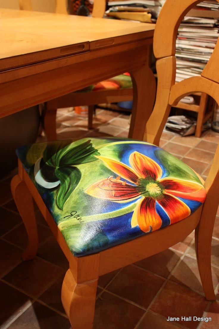 Funky painted furniture ideas - Clients Home Inspired In The Spice Palette Featuring Custom Products By Jane Hall Design Painted Dining Chairs