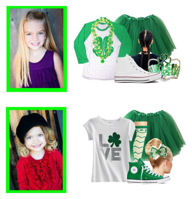 """happy st pattys day!!"" by the-matthews-family ❤ liked on Polyvore featuring Converse and claire's"
