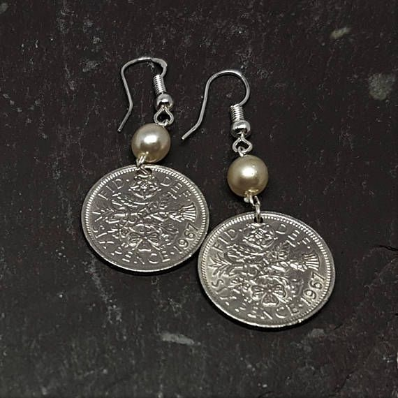 51st Birthday Gift 1967 Sixpence Earrings Many Years Available