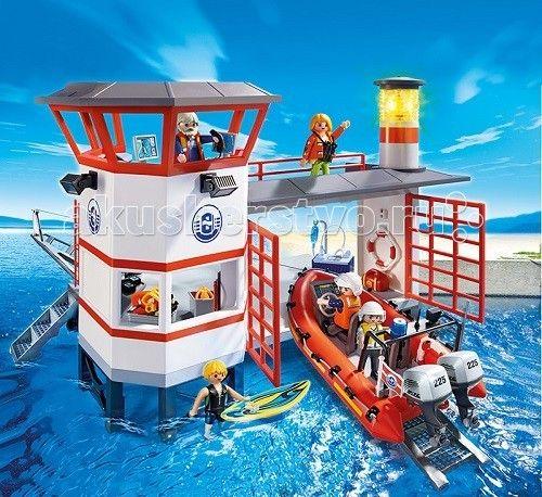 Конструктор Playmobil Береговая охрана: Береговая станция с маяком  Береговая охрана: Береговая станция с маяком - интересная игровая композиция, с которой можно играть в воде.  Набрав воду в ванную или в бассейн, ребенок сможет спускать по небольшому пандусу лодку, для этого необходимо использовать прикрепляемую к надувной лодке лебедку.   С помощью той же лебедки ребенок сможет поставить на стоянку свой водный транспорт.  Если игра происходит на берегу реки или возле водной глади моря или…