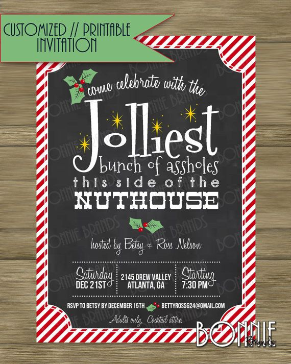 CUSTOMIZED // PRINTABLE // Holiday Party Invitation // Christmas Vacation Clark Griswold Theme // Adults Only Party //  Red, Green, Gold