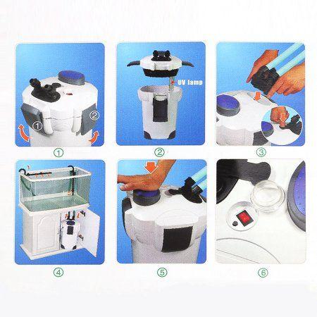 200 Gallon Aquarium Fish Tank External Canister Filter UV 9W Sterilizer,filtrator