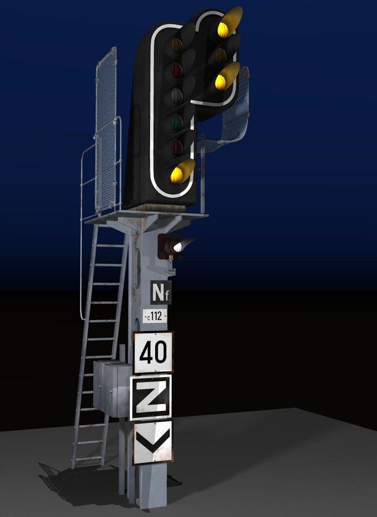 Signalisation ferroviaire, un objet 3D développé pour la scène d'arrivée dans la petite gare.