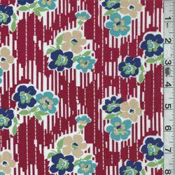 *6 YD PC--Red/Blue Floral Stripe Lawn