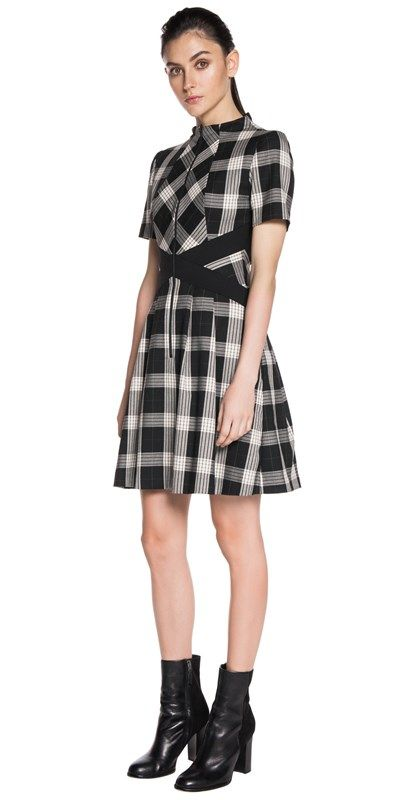 CUE - Spliced Check Zip-Front Dress