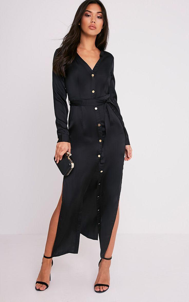 Clairia Black Button Down Silk Shirt Dress