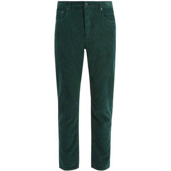 Prada Slim-leg cotton-corduroy trousers ($300) ❤ liked on Polyvore featuring men's fashion, men's clothing, men's pants, men's casual pants, green, mens green pants, mens corduroy pants, men's casual cotton pants, men's 5 pocket pants and men's five pocket pants
