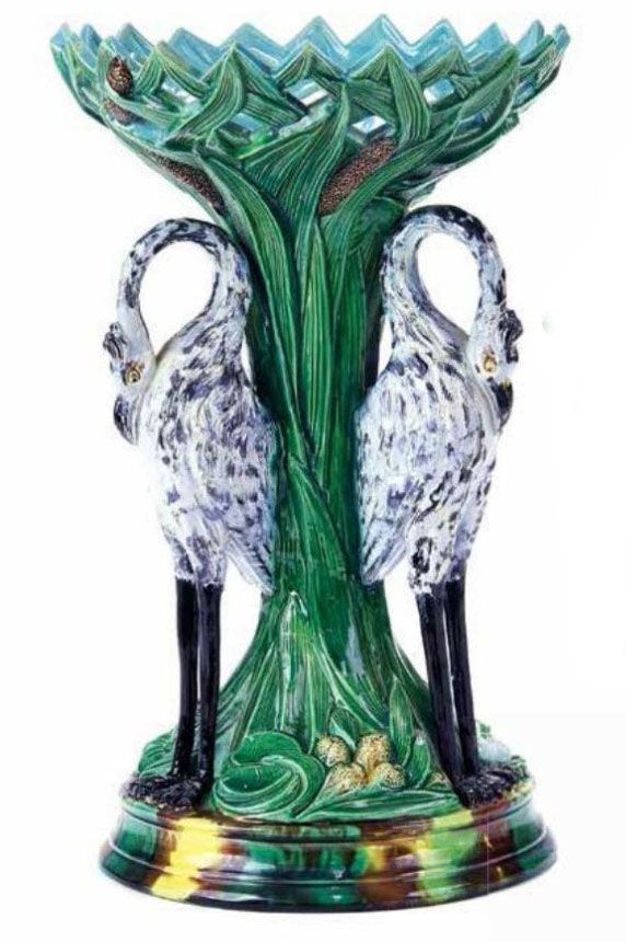 Holdcroft majolica heron centerpiece