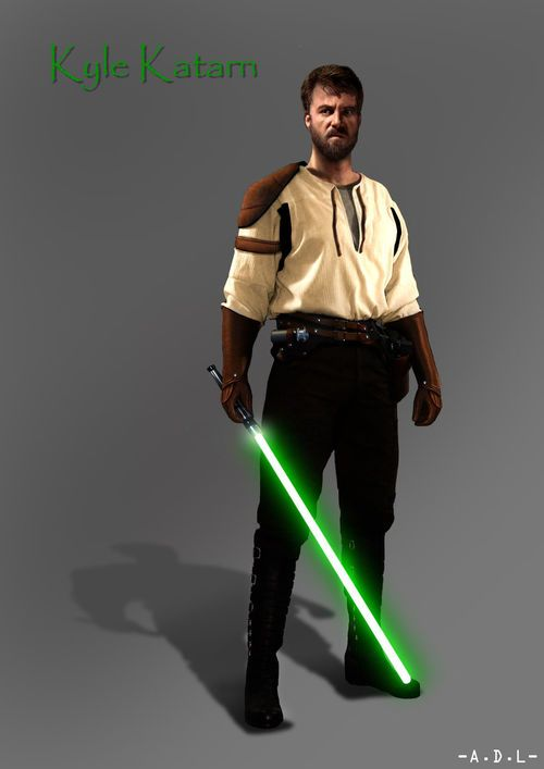 Kyle Katarn - Fictional character in the Expanded Universe, who appears in the five video games of the Jedi Knight series, the video game Star Wars: Lethal Alliance, and in several books and other material. In the Jedi Knight series, Katarn is the protagonist of SW: Dark Forces and SW Jedi Knight: Dark Forces II, one of two playable characters in SW Jedi Knight: Mysteries of the Sith, the protagonist of SW Jedi Knight II: Jedi Outcast and a major NPC in SW Jedi Knight: Jedi Academy.