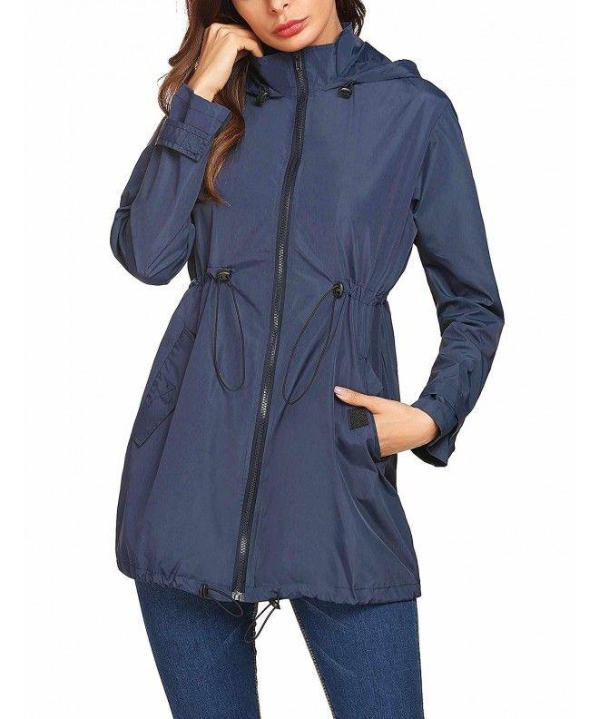 a154faec34d Women's Lightweight Waterproof Raincoat Hoodie Rain Jacket Outdoor Anorak  Windbreaker - Navy Blue - C51898QE6WS,Women's Clothing, Coats, Jackets &  Vests, ...