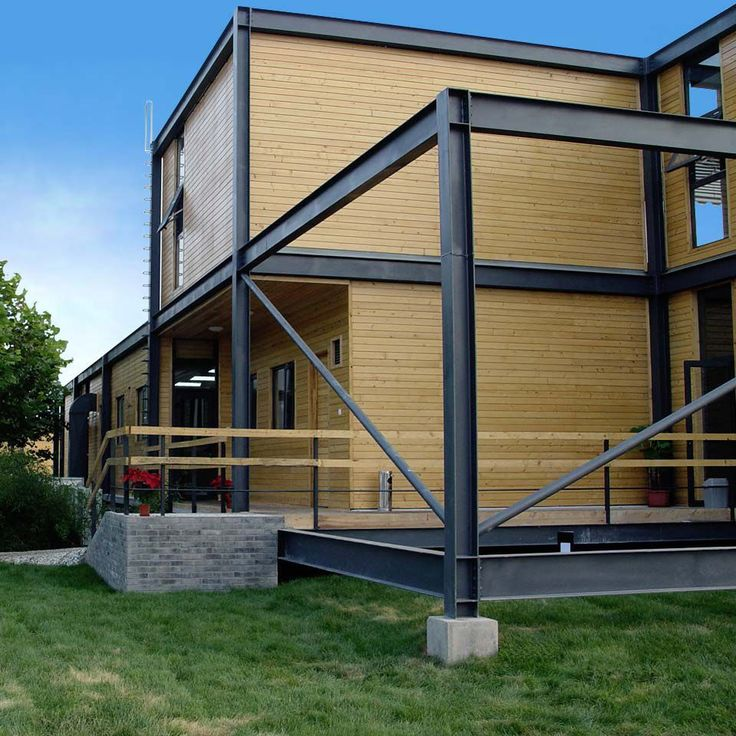 33 best exposed steel frame house images on pinterest for Prefab framing