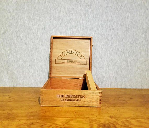 Vintage empty cigar box from Honduras The Repeater wooden