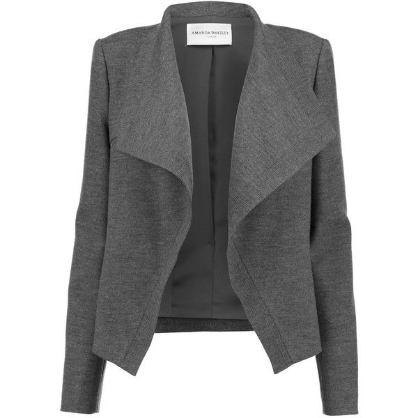 Amanda Wakeley Keshuki wool-blend felt jacket found on Polyvore featuring outerwear, jackets, coats, giacche, dark gray, open front jacket, wool blended jacket, drape jacket, shoulder pad jacket and drapey jacket