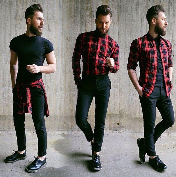 3 maneiras diferentes de usar uma mesma camisa xadrez