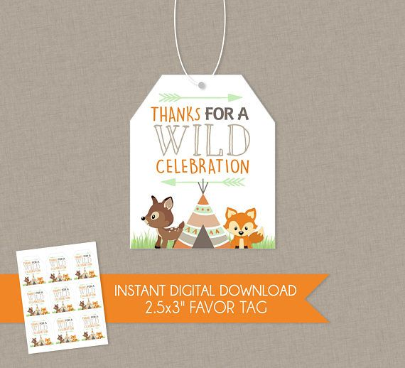 Woodlands Fox Baby Shower or Birthday Party Thank You Favor Tag - INSTANT DOWNLOAD - Thanks Woodland Woods Wild
