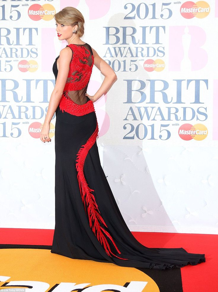 Well-trained: Swift's gown trailed behind her on the red carpet as she enjoyed her moment ...