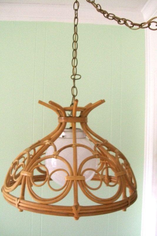 Retro Lamp Swag Light Rattan/Wicker Hanging por 4EnvisioningVintage