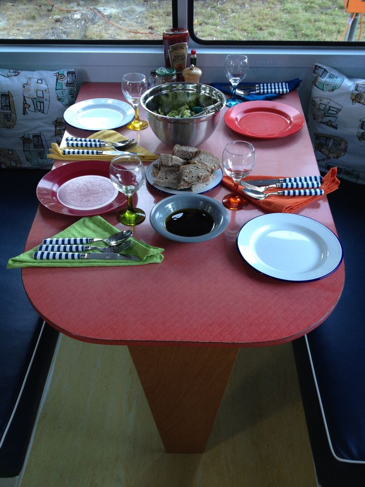 First caravan dinner party! Mix and match new and retro pieces.