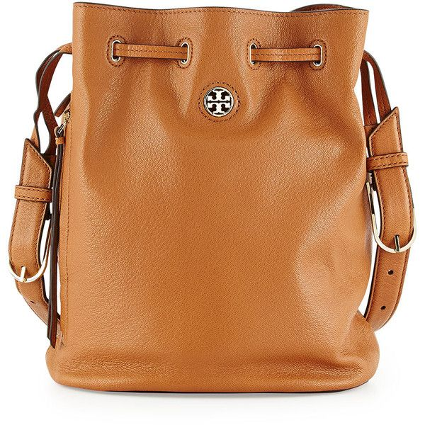 Tory Burch Brodie Pebbled Leather Bucket Bag (£295) ❤ liked on Polyvore featuring bags, handbags, shoulder bags, purses, bark, zipper purse, brown purse, tory burch, bucket bag and pebbled leather handbag