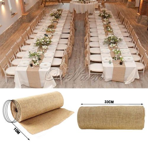 10m hessian burlap table runners vintage rustic natural - Rustic Decorations