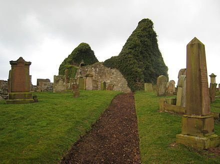 The old ruined church of St Nicholas in Prestwick, Scotland. The remains of the old parish church are located near Prestwick railway station. Thought to have originally been built in the 12th century, the small church building is now a ruin, and is surrounded by an ancient graveyard.