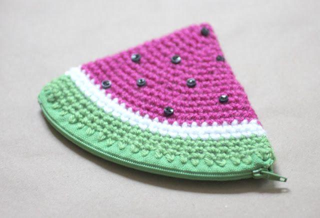 Crochet Watermelon Coin Purse - free pattern