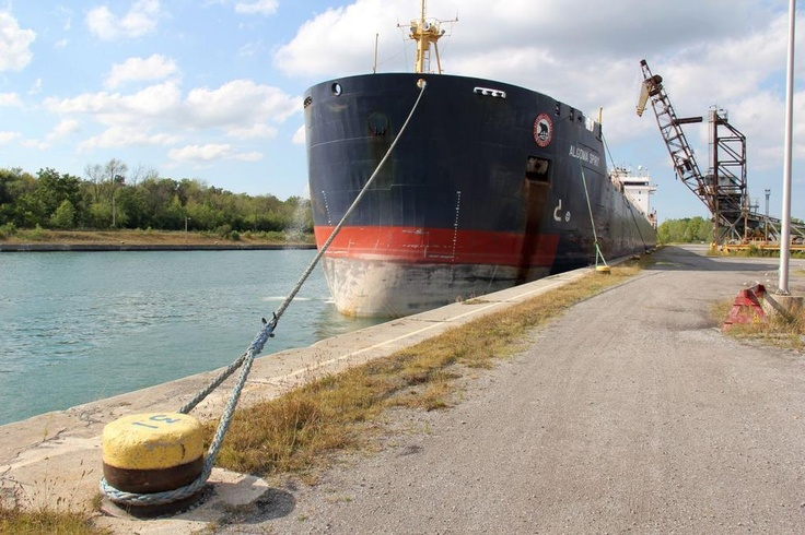 Welland Canal: Algoma Spirit is sitting at Wharf 12, the Stone Dock, down from Lock 8 in Port Colborne