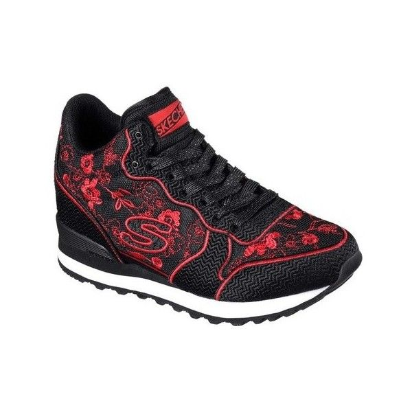Women's Skechers OG 85 In Bloom Sneaker ($46) ❤ liked on Polyvore featuring shoes, sneakers, casual, casual shoes, black high tops, high top wedge sneakers, red sneakers, black wedge sneakers and black sneakers