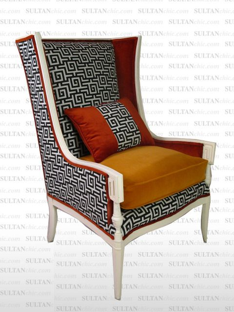 All upholstered furniture pieces featured here are one of a kind creations of artisan designer Albert Leon Sultan founder of WWW.SULTANCHIC.COM Please inquire if you'd like to purchase any piece featured here or to hire Albert to design your home.  #midcentury #retro #vintage #upholstery #wingchair #upcycle #couture #furniture #art #design #interiordesign #home #love #flower #pastel #sultanchic #chic #fashion #highback #orange #greekkey #hermes
