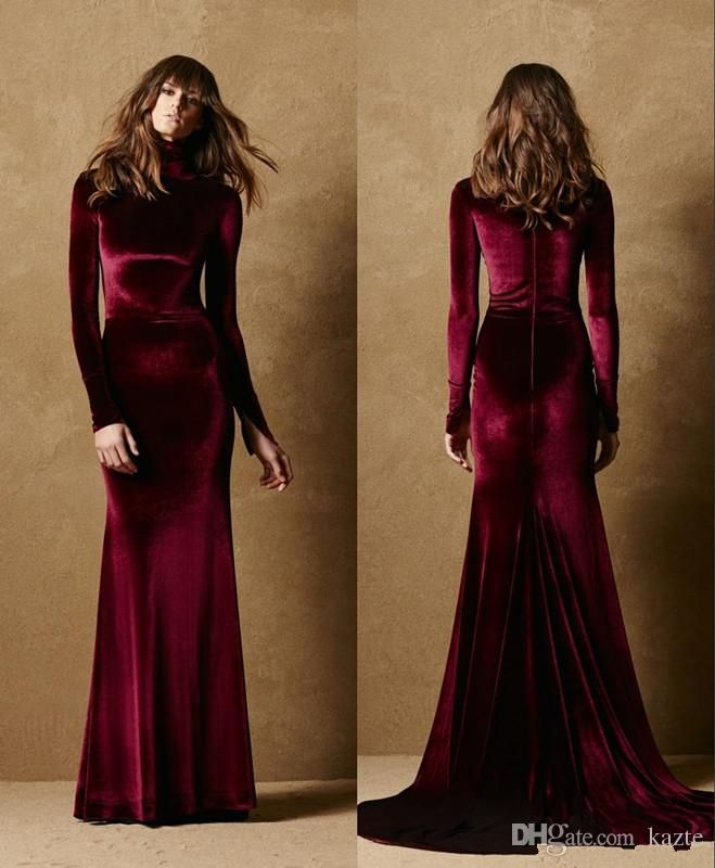 420424d8582c 2018 New Burgundy Velet Modest Prom Dress With Long Sleeves Formal Mermaid  Jewel Neck Evening Gowns Elegant Simple Wine Red Mermaid Wedding Dress Long  ...