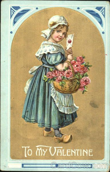 Dutch Girl Holding a Basket of Flowers