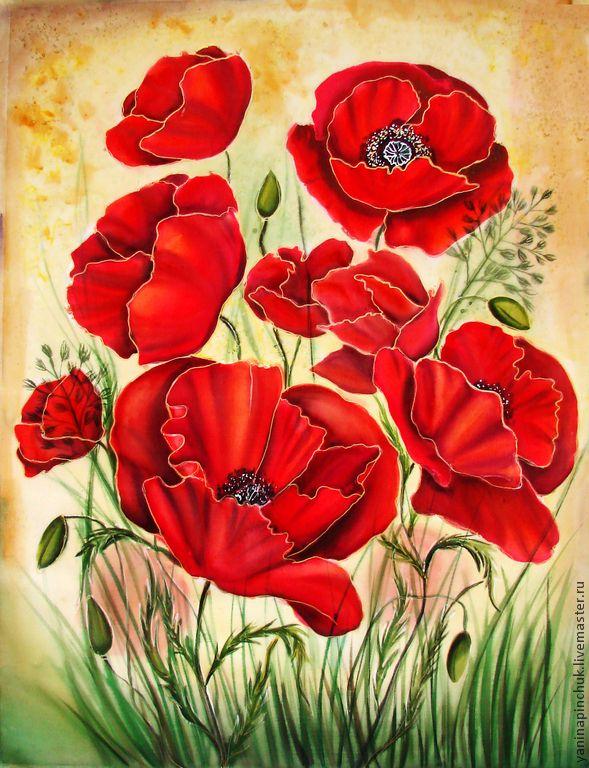 """Картина батик """"Алые маки"""" натуральный шёлк - ярко-красный,маки,цветы,батик картина"""