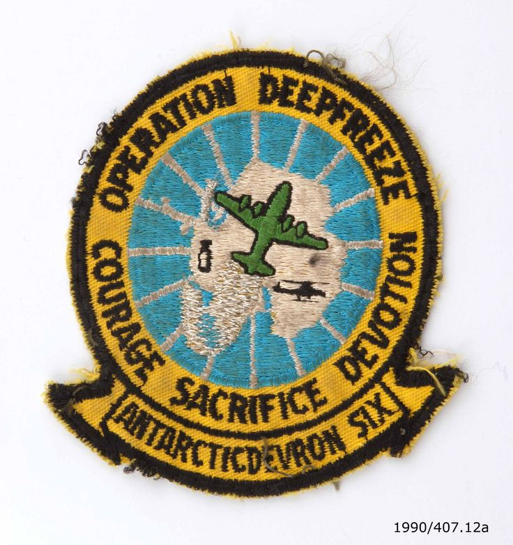 Embroidered badge for Operation Deep Freeze, the codename for a series of United States led missions to Antarctica. From the collection of the Air Force Museum of New Zealand.