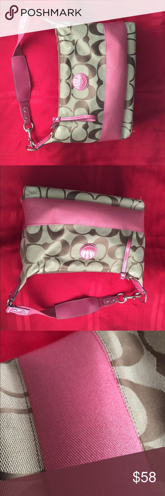 Coach signature handbag Nice and like new! Tan pattern with a beautiful deep rose color detail (not red, see the bright red spread for contrast). Fun and mature. Coach Bags Totes