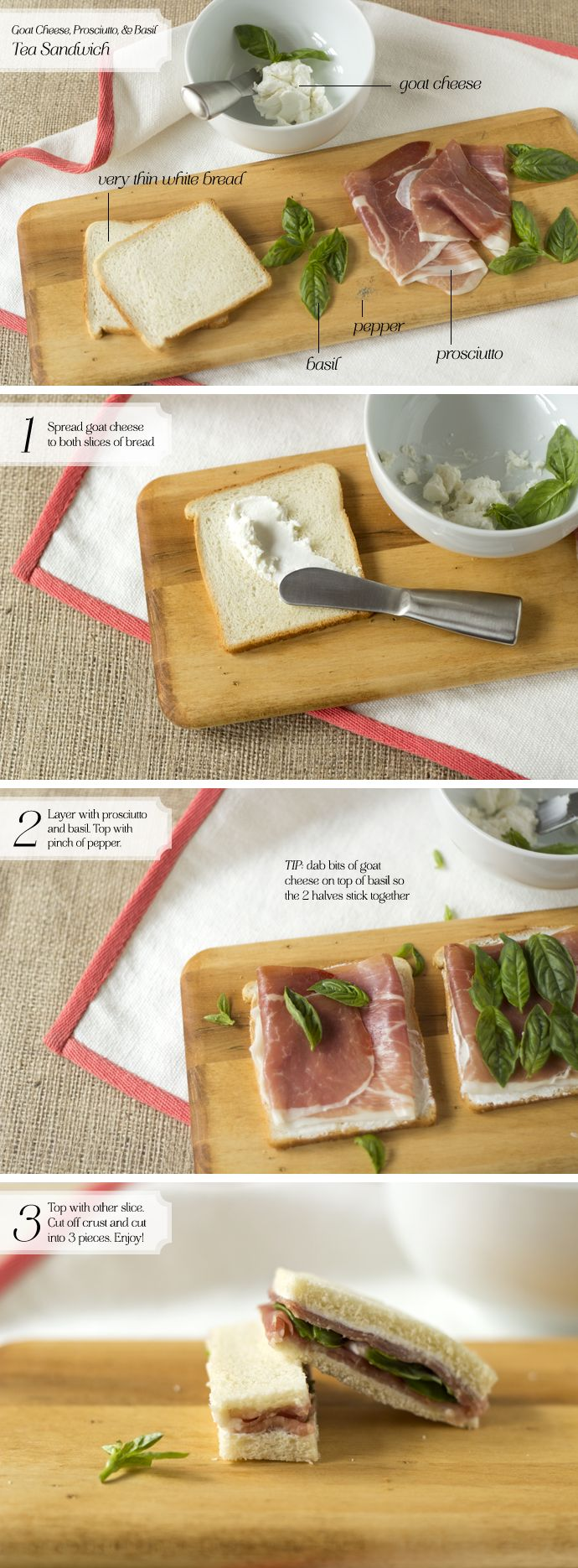 [Tea Sandwich] Goat Cheese, Prosciutto,Basil - Home - Oh, How Civilized