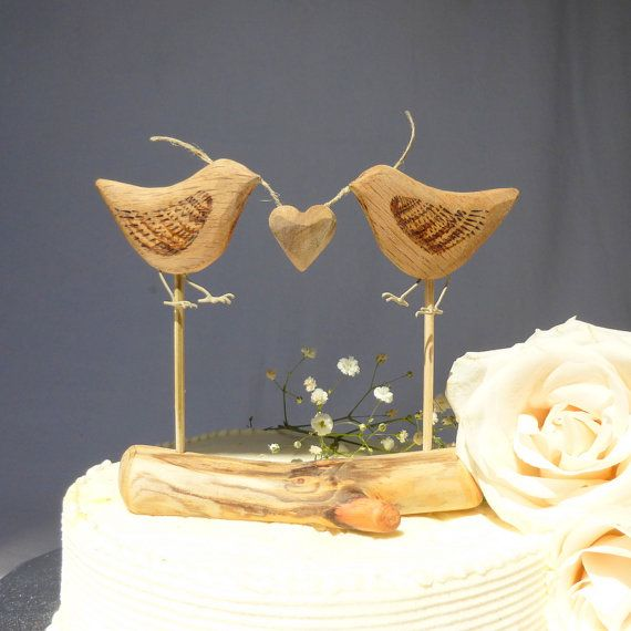 Natural Wood Wedding Cake Topper Love Birds Rustic Eco Decor