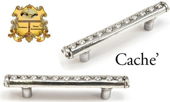 "Carpe Diem Hardware style# 870 Caché 3"" o.c. pull with center of Swarovski Elements. A sleek modern take with crystals galore. 12 - 6.25mm ""Rivioli"" stones flow in a line to add the additional surprise at the end of an additional 6.25mm ""Rivioli"" stone. It is the attention to detail that draws the Carpe Diem customer to us. It takes almost as long to set the one crystal at one end of the pull as it does to set the whole center of crystals. Shown in Chalice finish with clear crystals"