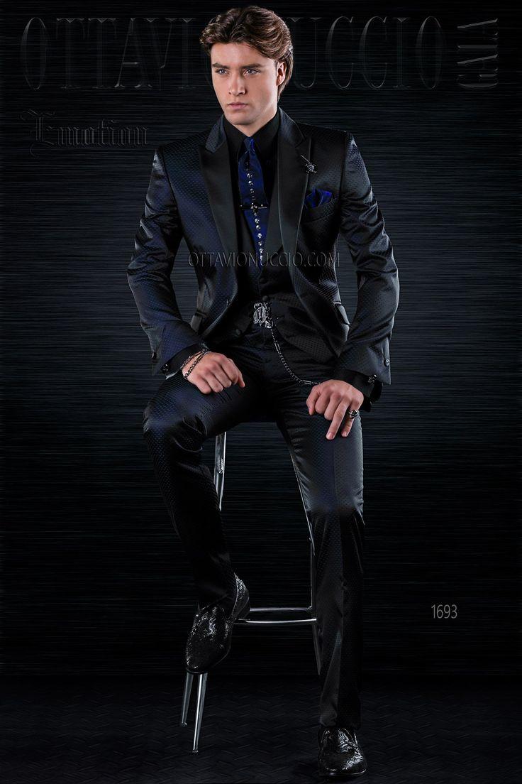 Shiny black peak lapel Italian modern tuxedo  #polkadots #polkadotted #groom #suit #luxury #menswear